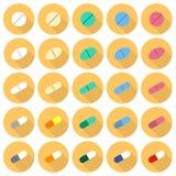 Vlakke het pictogramreeks van geneeskundepillen vector illustratie