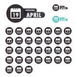 Vlakke het pictogramreeks van het kalendermalplaatje Stock Foto
