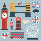 Vlakke het pictogramreeks van Londen Stock Afbeelding