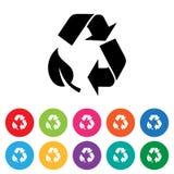 Vlakke het pictogramreeks van het recyclingssymbool stock afbeelding