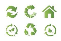 Vlakke het pictogramreeks van het recyclingssymbool stock afbeeldingen