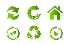 Vlakke het pictogramreeks van het recyclingssymbool stock foto