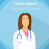 Vlakke het Portret van medische Artsenprofile icon female Stock Foto's