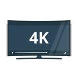 Vlakke het schermtv met 4k ultra video de technologie vectorpictogram van HD Royalty-vrije Stock Afbeelding