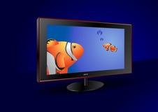 Vlakke het schermTV met vissen op het scherm vector illustratie