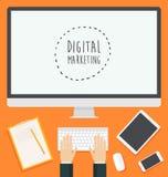 Vlakke het Web van het ontwerpconcept Digitale in Marketing Royalty-vrije Stock Afbeeldingen