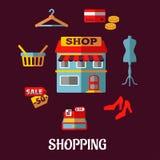 Vlakke het winkelen pictogrammen voor huishoudapparaten Royalty-vrije Stock Foto