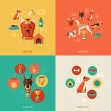 Vlakke hondpictogrammen Stock Afbeeldingen