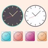 Vlakke horlogeklokken met arowpictogrammen die van warme kleur worden geplaatst die op achtergrond wordt ge?soleerd EPS 10 vector vector illustratie