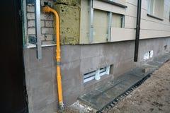Vlakke huis thermische isolatie met steenwolbouw en tegels royalty-vrije stock foto's