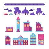 Vlakke huizen in reeks gebouwenpictogrammen Stock Afbeelding
