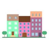 Vlakke huizen, vlakke townscape Royalty-vrije Stock Foto's