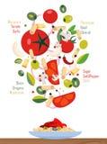 Vlakke illustratie: dalende ingrediënten van de deegwaren en de saus, besnoeiing in plakken: olijven, tomaten, knoflook, olijven, stock illustratie
