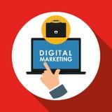 Vlakke illustratie over digitaal marketing ontwerp Stock Afbeeldingen