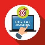 Vlakke illustratie over digitaal marketing ontwerp Stock Foto's