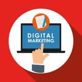 Vlakke illustratie over digitaal marketing ontwerp Stock Foto