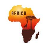 Vlakke illustratie over het ontwerp van Afrika Stock Foto's