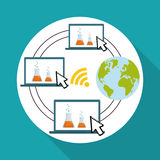 Vlakke illustratie over technologieontwerp Royalty-vrije Stock Afbeeldingen