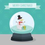 Vlakke illustratie van de bal van de Kerstmissneeuw Stock Foto's