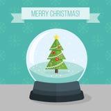 Vlakke illustratie van de bal van de Kerstmissneeuw Royalty-vrije Stock Foto's
