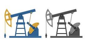 Vlakke illustratie van een olieboortoren stock afbeelding