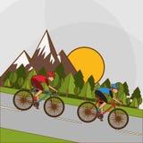 Vlakke illustratie van fiets lifesyle ontwerp, edita Stock Foto's