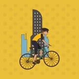 Vlakke illustratie van fiets lifesyle ontwerp, edita Royalty-vrije Stock Fotografie