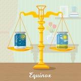 Vlakke illustratie van het lente'equinox' vector illustratie