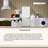 Vlakke illustratie van keuken Stock Foto's