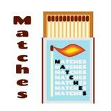 Vlakke illustratie van lucifersdoosje met gelijken Doos met matchsticks Stock Foto