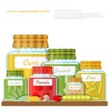 Vlakke illustratie van plank met glaskruiken van verschillende ingeblikte groenten Royalty-vrije Stock Foto