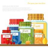Vlakke illustratie van plank met glaskruiken verschillende fruitjam Royalty-vrije Stock Fotografie