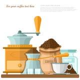 Vlakke illustratie van plank met verschillende voorwerpen voor het prepearing van koffie Royalty-vrije Stock Afbeelding