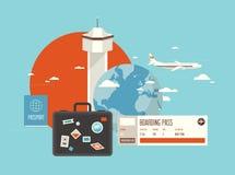 Vlakke illustratie van reis op vliegtuig Royalty-vrije Stock Foto's