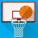 Vlakke illustratie van spelbasketbal Stock Afbeeldingen