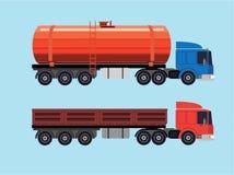 Vlakke illustratie van vrachtwagens Stock Fotografie