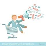Vlakke illustratiemens op karretje met megafoon Stock Afbeelding