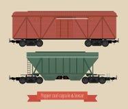 Vlakke illustratierailcars Stock Illustratie