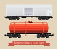 Vlakke illustratierailcars Royalty-vrije Illustratie