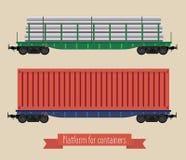 Vlakke illustratierailcars Stock Afbeeldingen