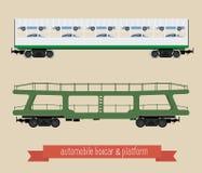 Vlakke illustratierailcars Stock Afbeelding