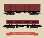 Vlakke illustratierailcars Royalty-vrije Stock Afbeeldingen