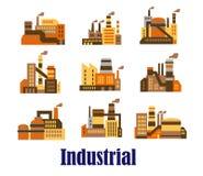 Vlakke industriële pictogrammen van installaties en fabrieken Stock Afbeeldingen