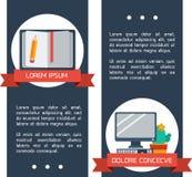 Vlakke infographic onderwijsbanners. Stock Foto's