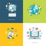 Vlakke Internet-geplaatste technologieënbanners Sociale media, Internet n Stock Foto's