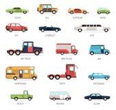 Vlakke Inzameling van Verschillende Automodellen royalty-vrije illustratie