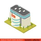 Vlakke isometrische infographic de verkoopbouwsteen van de supermarktwandelgalerij Royalty-vrije Stock Foto