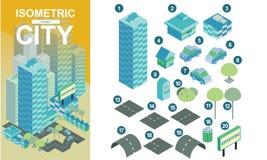 Vlakke isometrische stadsblokken met wegen en kruispunten vectorillustratie volume1 stock afbeeldingen