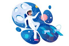 Vlakke jonge mensenkosmonaut in ruimte met spacesuit royalty-vrije illustratie