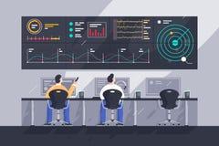 Vlakke jonge mensenwerknemer met de schermen met grafieken op controlecentrum vector illustratie